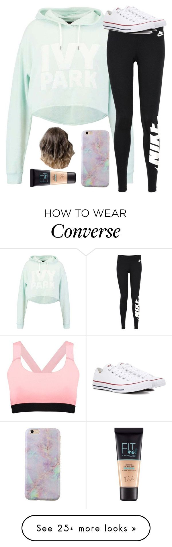"""Untitled #2765"" by laurenatria11 on Polyvore featuring Boohoo, Ivy Park, NIKE, Converse and Maybelline"