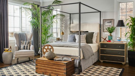 """The stunning Quincy Bedroom, curated by designer Jeff Lewis of Bravo TV's """"Flipping Out"""" This and the entire Jeff Lewis Collection is available in Chicago at Walter E. Smithe Furniture and world-wide at Smithe.com."""