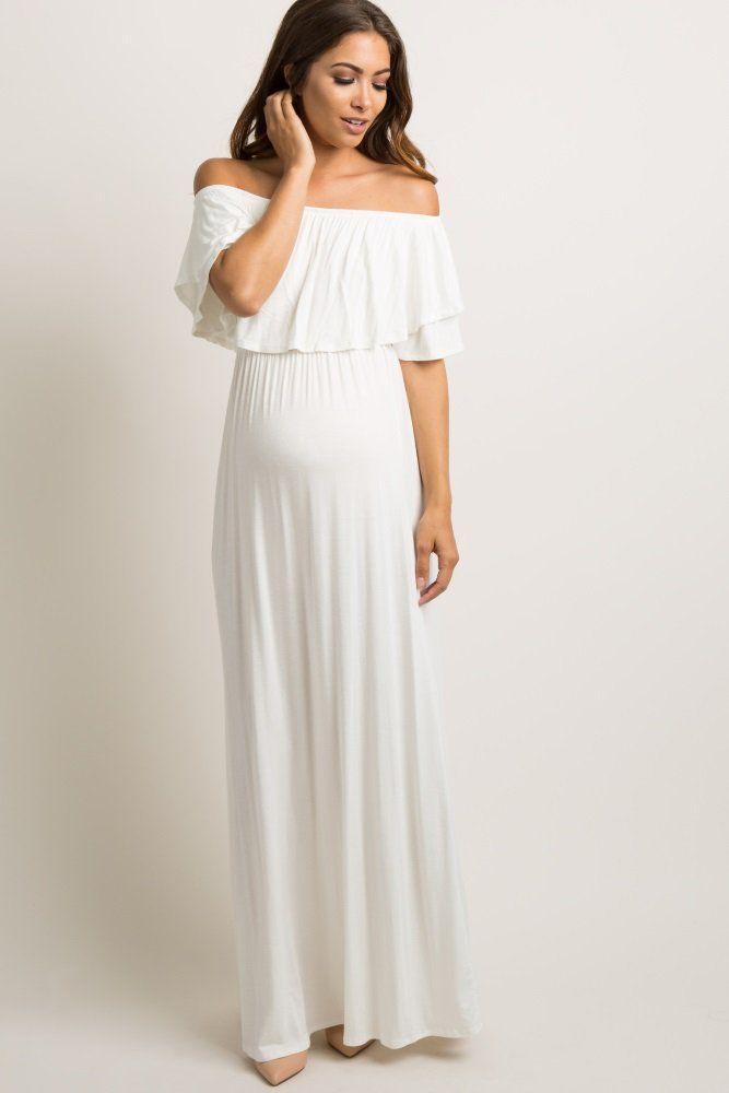 990887f0d6f7 Ivory Off Shoulder Ruffle Trim Maxi Dress An off shoulder maternity maxi  dress featuring a solid hue