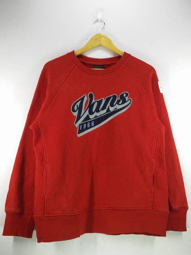 bb825bd8f14 Vans Vintage 90's Vans Big Spell Out Embroidery Red Sweatshirt Jumper  Pullover Size Large Size US L / EU 52-54 / 3