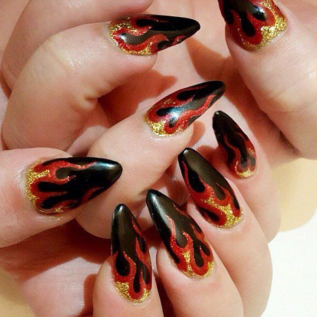 "528 Likes, 21 Comments - Naomi Yasuda (@naominailsnyc) on Instagram: "" #flame #nails"""