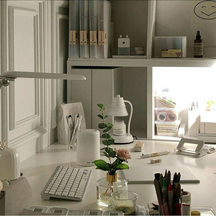 White Minimalistic Study Desk Home Interior Korean