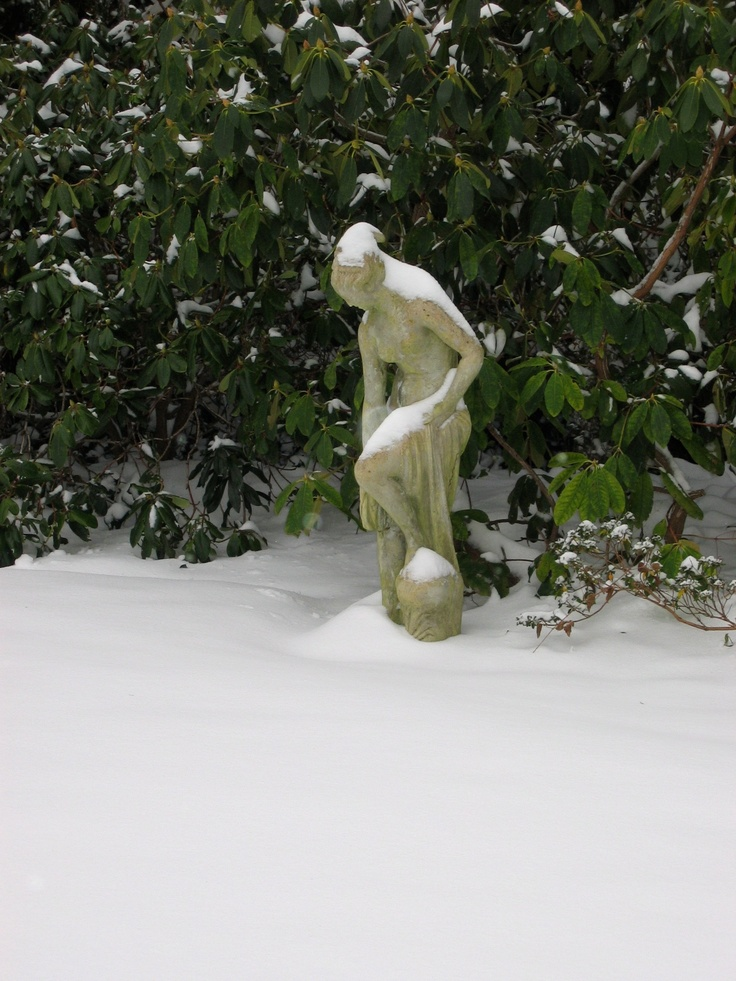 Statuary adorned with fallen snow at the Villa