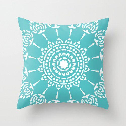Geometric Mandala Pillow Cover - Turquoise Aqua Blue -  Modern Home Decor - By Aldari Home