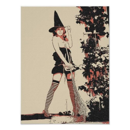 Halloween witch sexy nude naked girl woman topless poster