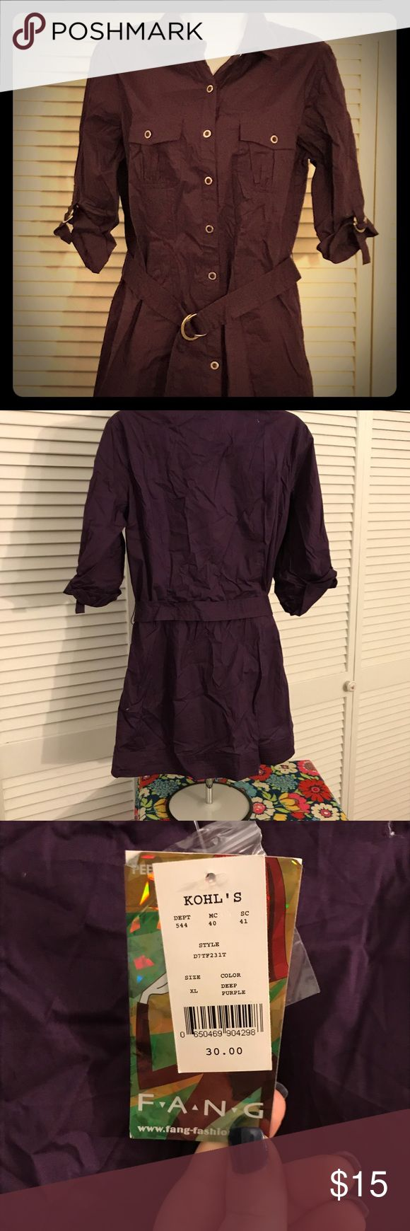 NWT eggplant 🍆 safari tunic dress NWT from Kohl's Jr. section. Beautiful eggplant safari style tunic dress with ties up sleeves and belted waist. Perfect with dark leggings and combat boots Dresses Mini