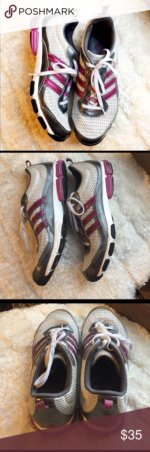 Like New Adidas Running Shoes Very gently used condition, wear includes subtle discoloration on right tongue and small scuff at right toe. Grey with purple detailing. True size 7. Fit foam soft comfort insoles and torsion support system. Adidas Shoes Athletic Shoes