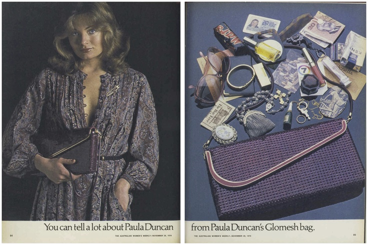 You can tell a lot about Paula Duncan from Paula Duncan's Glomesh bag... #PaulaDuncan #Glomesh