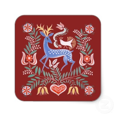 Hungarian Folk Art Square Sticker by ilonagarden