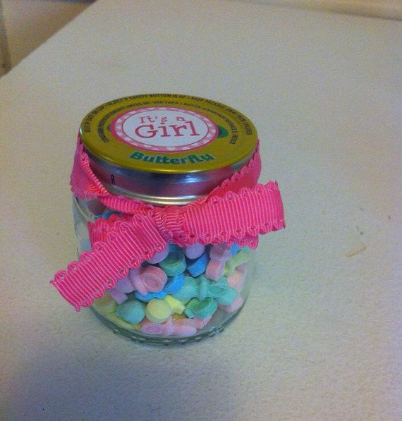 set of 12 girl baby shower favors 4oz baby food jars with pacifier candies and