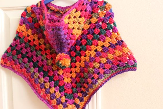 Crochet Pattern For Baby Hooded Poncho : Crochet Hooded Poncho with a pom pom in Vibrant by ...