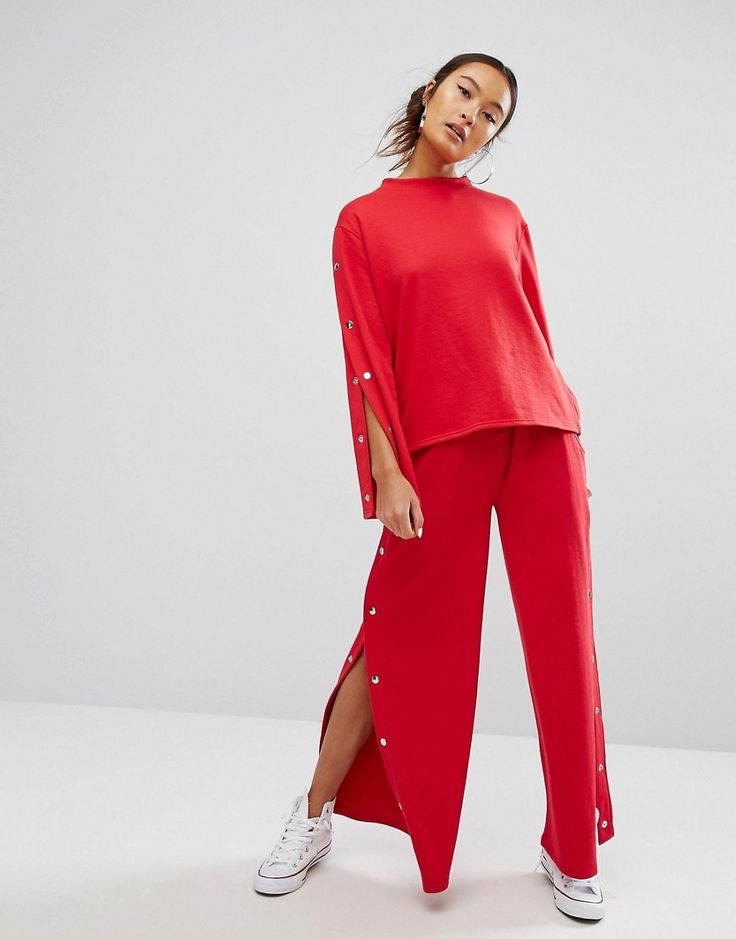 Buy it now. Daisy Street Wide Leg Joggers With Popper Sides Co-Ord - Red. Sweatpants by Daisy Street, Soft-touch sweat, Drawstring waistband, Functional pockets, Popper sides, Wide-cut leg, Relaxed fit, Machine wash, 55% Polyester, 45% Cotton, Our model wears a UK S/ EU S/ US XS and is 170cm/5'7� tall. If you like your trends as fast as they come then Daisy Street is the label for you. Always up on their A-game, Daisy Street's collection of crop tops, bodycon midis and pleated mini skirts…
