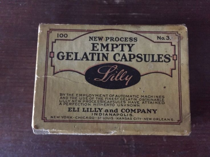 Old Medicine Box Eli Lilly & Company New Process Empty Gelatin Capsules Vintage | eBay 9.99