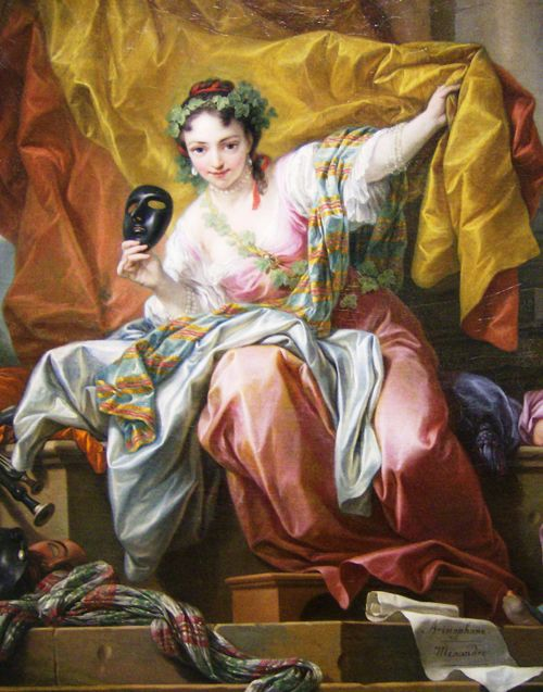 Van Loo. Detail from The Allegory of Comedy, 1752.
