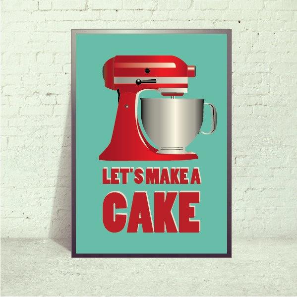 Mix It Up, Poster Retro Kitchen Mixer Art Print, Kitchen
