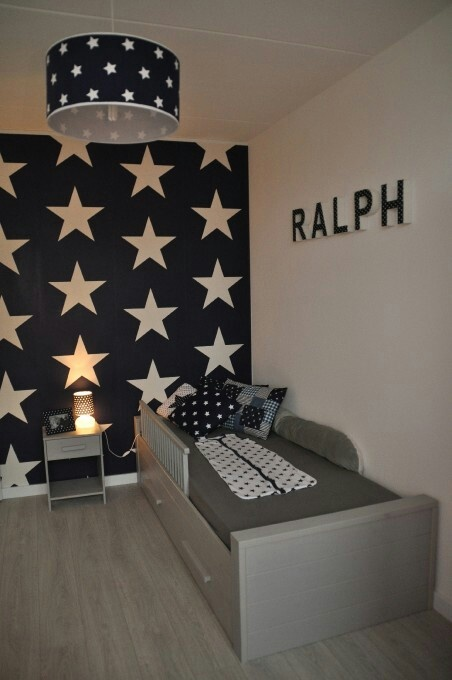 I want this as Riley's feature wall, but light grey stars and the other walls light grey with a lighter blue