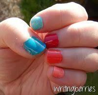 Writing Berries: snoeperige nailart van Miss Sporty & Rimmel London http://writingberries.blogspot.nl/2014/02/trendy-nailart-snoepkleurtjes-op-je.html