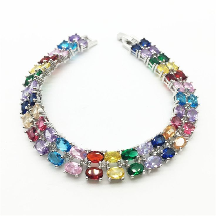Women Fashion Jewelry Bracelets Charm Design White Gold Filled Color AAA Multicolor Zircon Stone High Quality