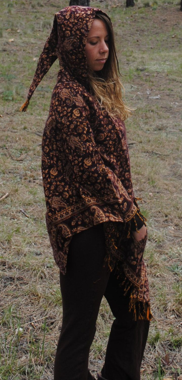 100% Yak Wool Hooded Poncho Shawl Elven Hood Funky Flower Print Hippie Travel Gypsy Elf Fairy Pixie by UbuntuThreads on Etsy
