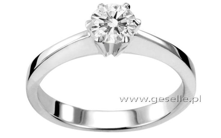 Luksusowy pierścionek zaręczynowy z białego złota z brylantem o masie 1 ct - GRAWER W PREZENCIE | PIERŚCIONKI ZARĘCZYNOWE  Brylant  Białe złoto od GESELLE Jubiler
