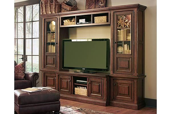 The Gaylon Wall Unit From Ashley Furniture HomeStore (AFHS.com). Bathed Beautifully In A Vintage