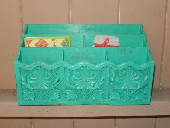 Vintage Turquoise Office Organizer ... Shabby by SeaGreenSeeBlue, $23.99