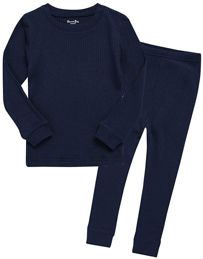 Toddler Baby Boy Girl Pajamas Set Unisex Infant Long Sleeve T-Shirt Top Pants Ribbed Sleepwear 2PCS Fall Outfits