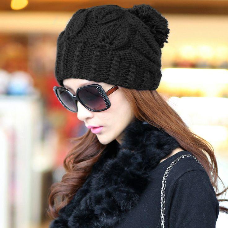 Siggi flujos versión femenina coreana en sombrero del invierno de Lana Tejidos lana sombrero gorra fashion tapa caliente casco