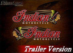 2 Indian Motorcycle Full Color War Bonnet Trailer Vinyl Stickers
