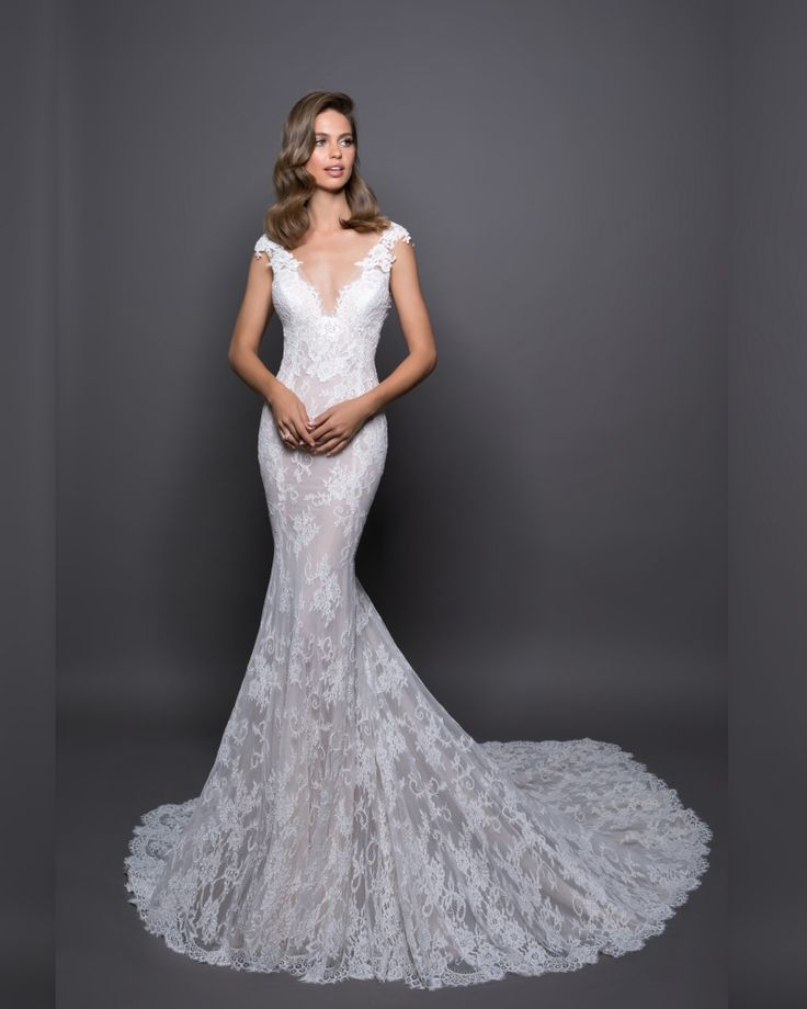 LOVE BY PNINA TORNAI | V-Neckline Mermaid Wedding Dress in Lace
