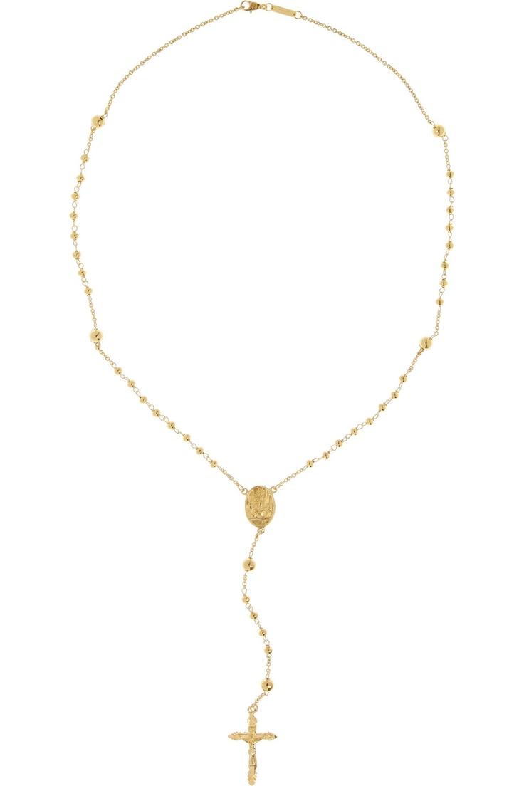 beaded gold tone rosary necklace