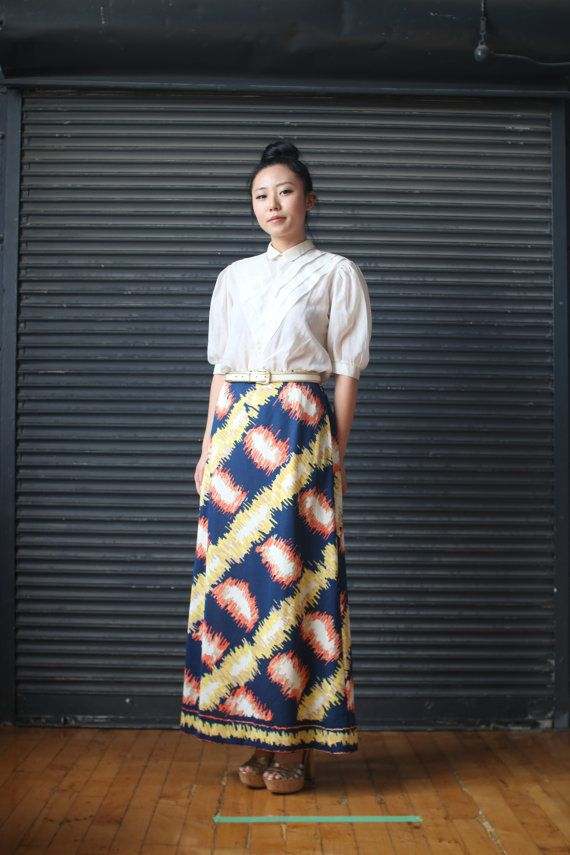 Vintage multi-colored polyester maxi-skirt,1970s SOLD!