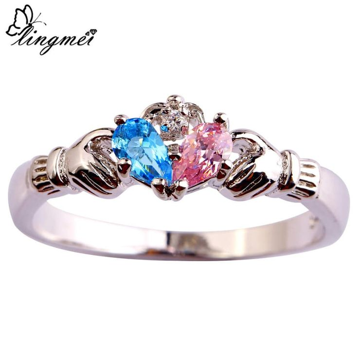 Beautiful Lady's Blue Pink Stone White Silver Ring //Price: $7.95 & FREE Shipping //     #stylish