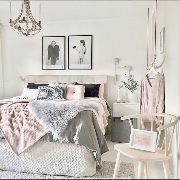 scandinavian style bedroom, blush pink accents, pale pink, light pink, benjamin moore pink bliss, black accents