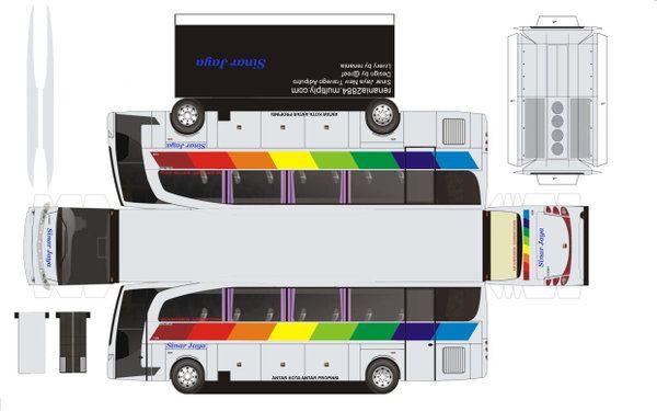 Pola Papercraft Bus Indonesia Di 2020 Dengan Gambar Papercraft