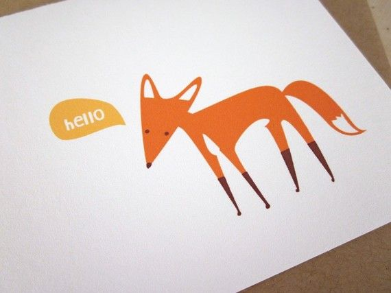 Hello Fox Handmade Card by monkeymindesign on Etsy, $4.00: Etsy, Handmade Cards, Illustration, Greeting Cards, Foxes, Foxy Card, Animal