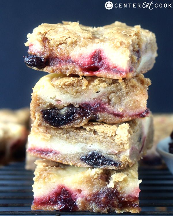 These Cherry Cheesecake Blondies combine brown butter, chewy cherries, and sweet cheesecake to make the best blondies ever!