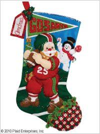 Bucilla ® Seasonal - Felt - Stocking Kits - Football Santa. #bucilla #stockings #christmas #plaidcrafts