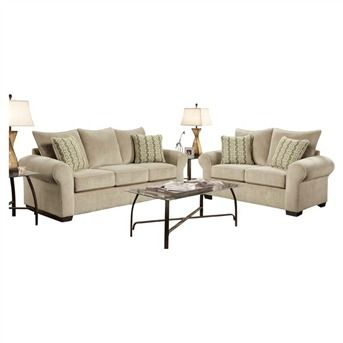 Harlow Beige Chenille Roll Arm Sofa