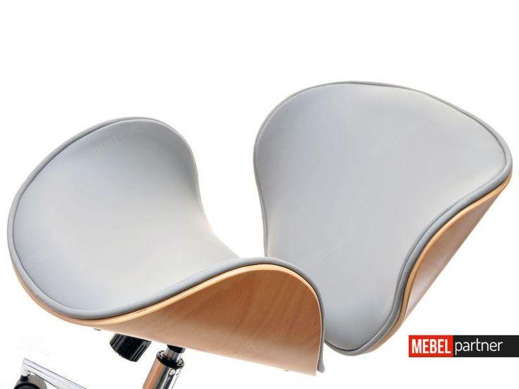 Designerski fotel do biurka z drewna i skóry BOOM bukowo szary - detale.