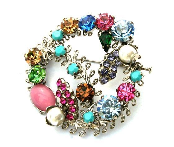 Silver filigree brooch strass colored stoness - Spilla filigrana argentata strass pietre colorate