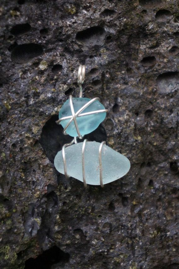 Hawaii Aqua Sea Glass Wire Wrapped Necklace by AquaWai on Etsy