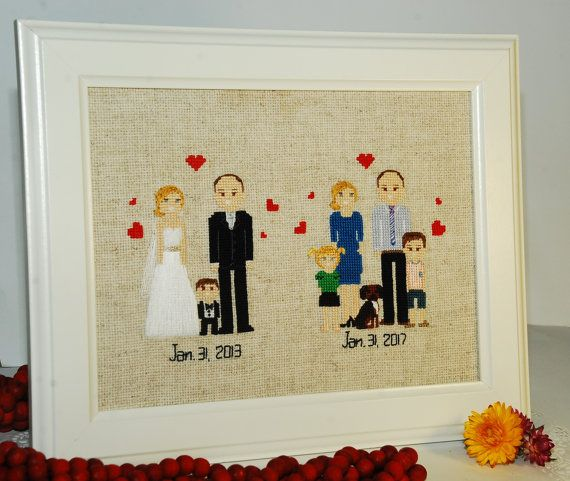 Cross stitch family portrait 4th Wedding Anniversary от Xrestyk