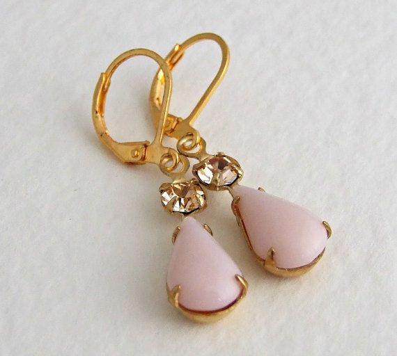 Pale Pink Earrings .. teardrop earrings two by beadishdelight