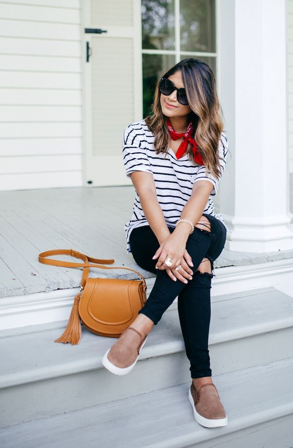 haute off the rack, gigi new york jenni saddle bag, women's fashion, black jeans, tan slip-on sneakers, striped tee, red bandana, saddle bags, transitional style, old navy tees, pre-fall fashion,