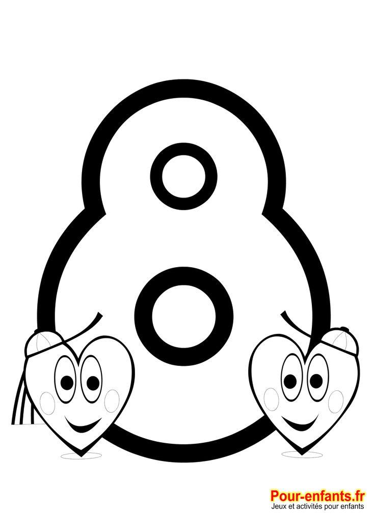Coloriage chiffre 8 imprimer nombre 8 apprendre chiffres nombres coloriage huit math pinterest - Chiffre a imprimer gratuit ...