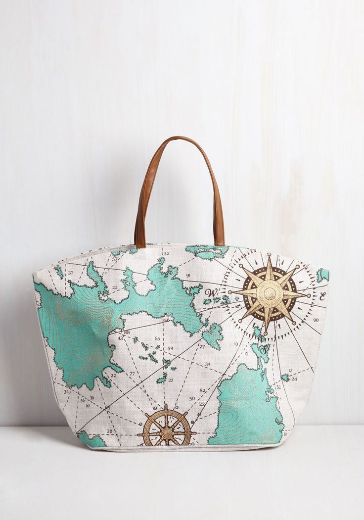 Whole World In Your Handles Bag - Multi, Casual, Beach/Resort, Nautical, Spring, Summer, Better, Novelty Print, Travel