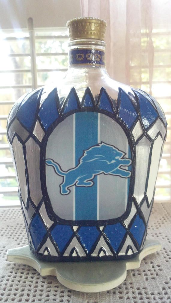 Detroit Lions Football Crown Royal bottle Hand Painted