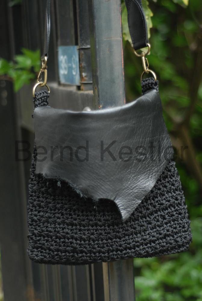 Crochet Shoulder Bag with Leather Element