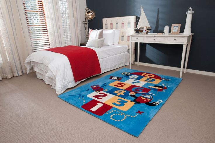 Hopscotch! A little fun for your floor in blue, red and yellow - Carpet Call Cuddles Rugs Range - perfect for your kids room decor